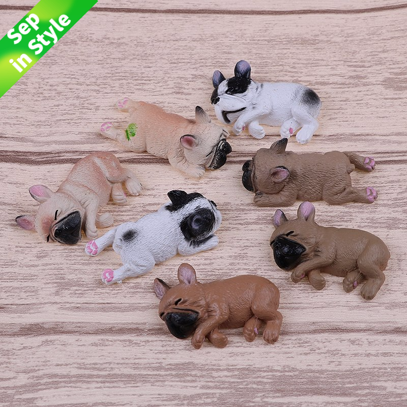 9 Styles French Bulldog Sleepy Corgis Dog Toys Action Figures PVC Model Toy Landscape Decor Animals Dolls Kids Gifts