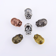 10PCS/package Indian mask beads helmet Beads Metal Antique Silver Gold or Bronze Charms Bracelet for jewelry making