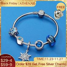 ATHENAIE Authentic 925 Sterling Silver Starry Charms Bracelets Bangles with CZ Charm Beads for Women Christmas Day DIY Gift