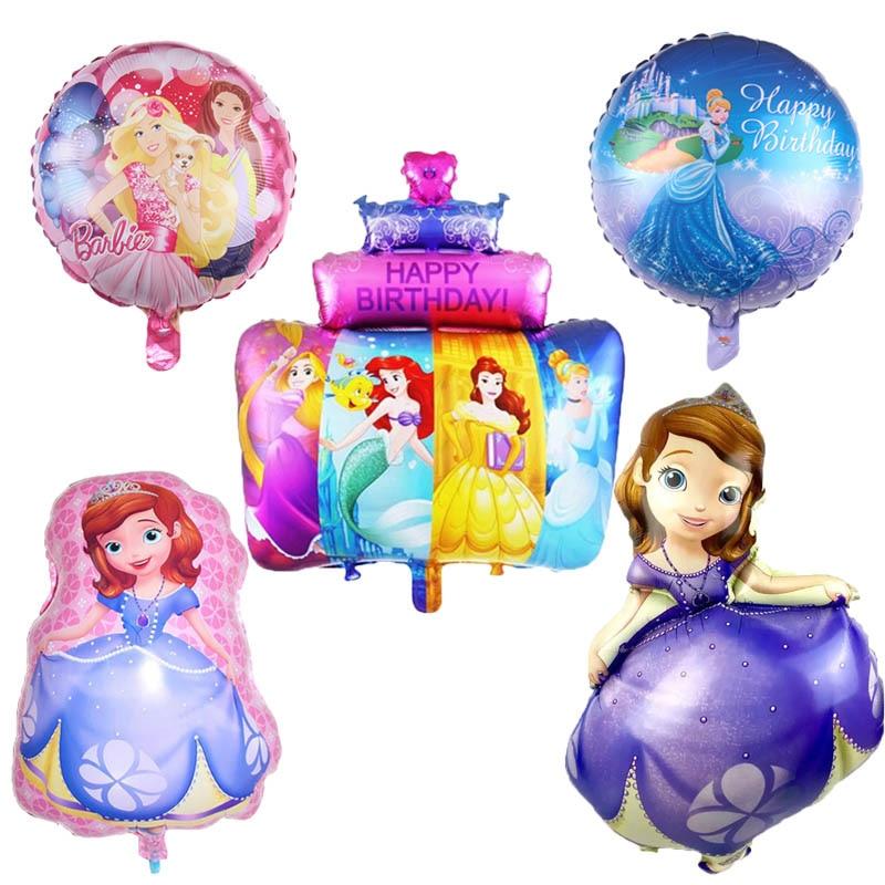 1pc Belle Sofia Aurora Cinderella Snow White Elsa Five Princess Cake Foil Balloons Baby Birthday Party Decoration Helium Balloon soccer balls size 4