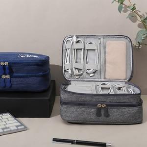 Сумка для хранения электронных аксессуаров, двухслойная цифровая сумка для хранения, вместительная Портативная сумка, органайзер для элек...
