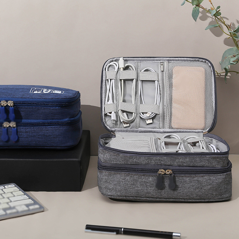 Electronics Accessories Storage Bag Double Layer Digital Storage Bag High Capacity Portable Handbag Electronics Gadget Organizer