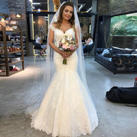 Elegant Lace Mermaid Wedding Dresses 2019 V neck Natural Waist Sleeveless Vestido de Novia Floor Length Appliques Bridal Gowns