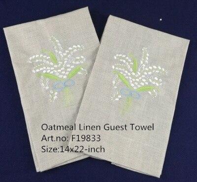 Set Of 12 Fashion Handkerchiefs Oatmeal Linen Tea Towel -14