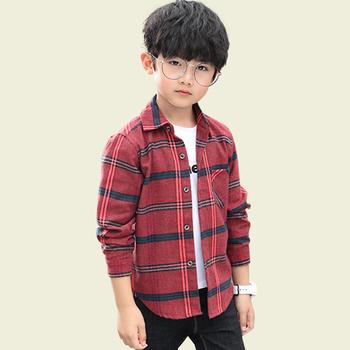 Bluzki dla chłopców wzór w kratkę bluzka chłopięca z długim rękawem dziecięca koszula dla chłopców wiosna jesień odzież dziecięca dla chłopców tanie i dobre opinie NoEnName_Null Na co dzień COTTON Poliester Pełna Pasuje prawda na wymiar weź swój normalny rozmiar Suknem Chłopcy