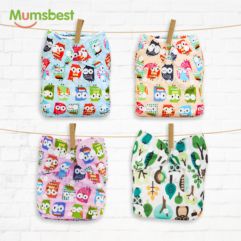 [Mumsbest] 1Pc Reusable Baby Cloth Diaper Cover Washable Nappies Carton Cats Green Nappy Waterproof Pocket Diapers Suit 3-15kg