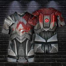 2021 Men's Summer New Casual Short Sleeve Men's and Women's Knight Armor 3D Printing Fashion T-shirt Men's Trendy T-shirt Clothi