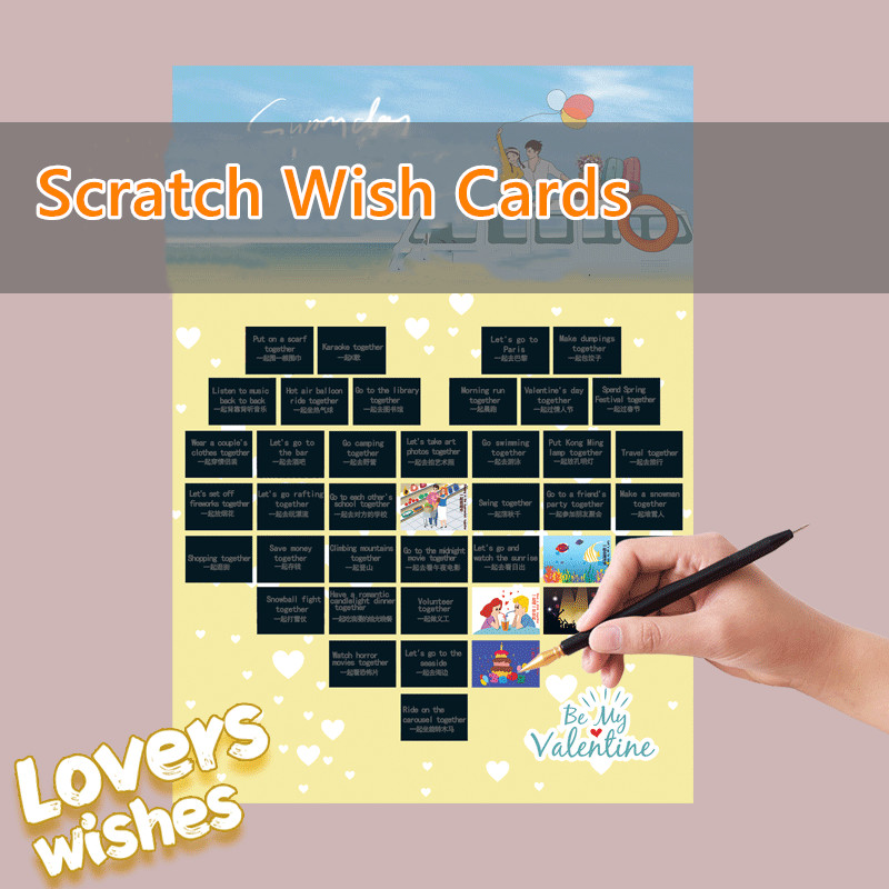 41*28cm Night View Scratch Painting 50 Wish Cards for Lovers Family Kids Friends Diy Handmade Decompression Toys Home Decor.
