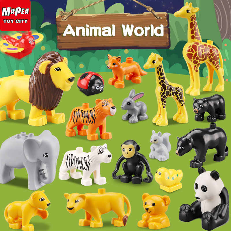 legoing duploed Animals and Jurassic Dinosaur World series Big Large particle building blocks brick Toys For childrens Kids gift