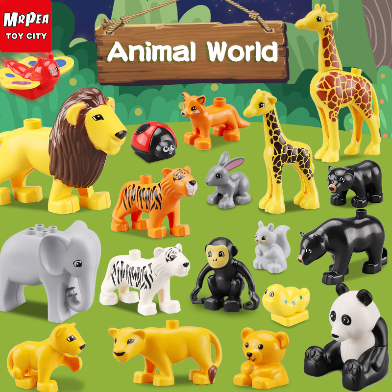 Duploed Animals And Jurassic Dinosaur World Series Big Large Particle Building Blocks Brick Toys For Childrens Kids Gift