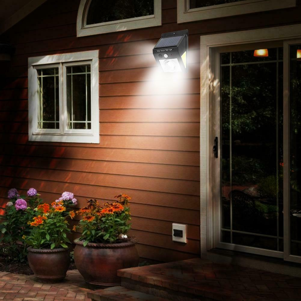 Motion Sensor Weather Proof Solar Powered Yard Led COB Garden Wall Lamp Pathway Outdoor Waterproof Courtyard Infrared Driveway