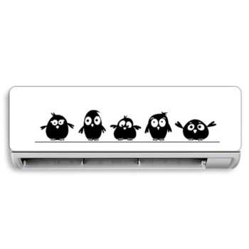 Cute 5 Little Birds on the Wire Wall Stickers Door Stickers for Kids Room Living Room Art Decals Cartoon Animal Waterproof Vinyl 1