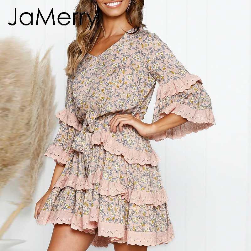 JaMerry/винтажное богемное платье с цветочным принтом, женское Короткое мини-платье с рукавами-рюшами, женское осеннее платье, Boho, праздничные платья с поясом