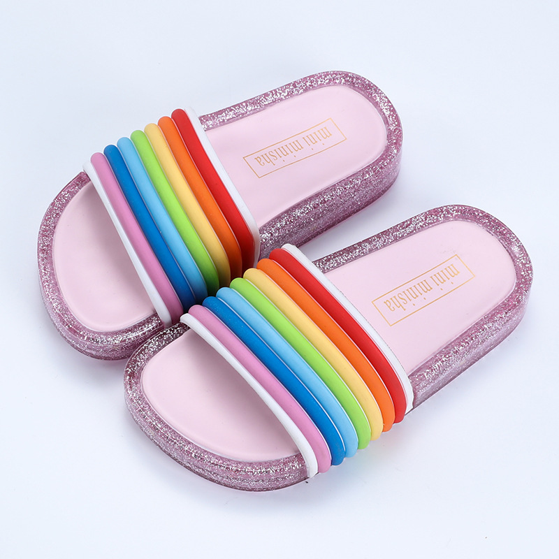 Rainbow Straps LED Flash Jelly Slides 3