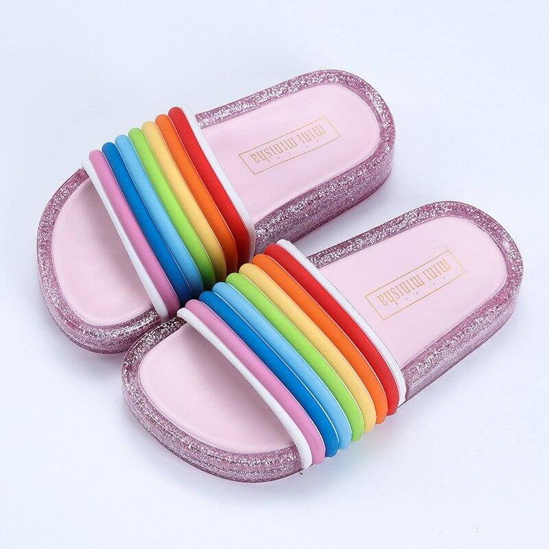 Rainbow Straps LED Flash Jelly Slides 3
