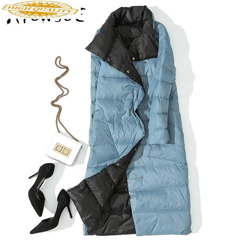 2019 New 90% White Duck Down Jacket Women Two Side Wear Ultra Light Puffer Jacket Women Korean Warm Parka Abrigos 033 YY1629