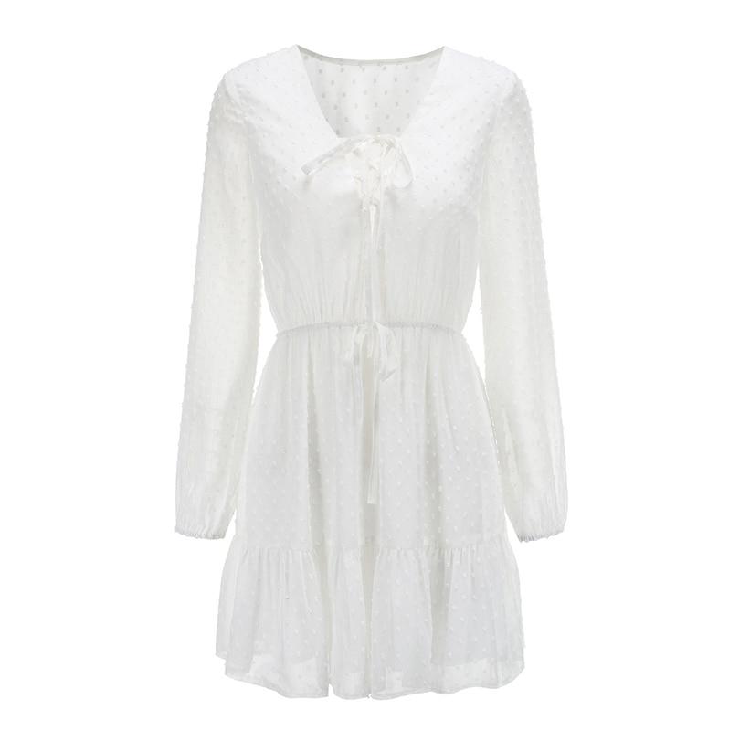 Elegant Ruffles Lace Up Long Sleeve White Mini Dress 4