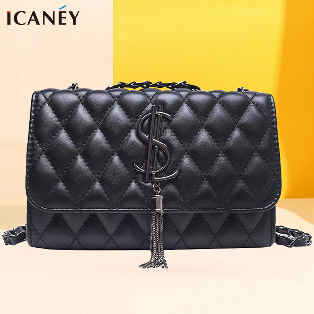 Famous Brand Plaid Shoulder Bag Women Chain Designer Classic Large Capacity PU Leather