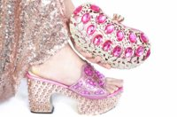 Free shipping lovely pink shoes matching bag for african aso ebi shinning big stones slippers shoes and clutches bag SB8475 4