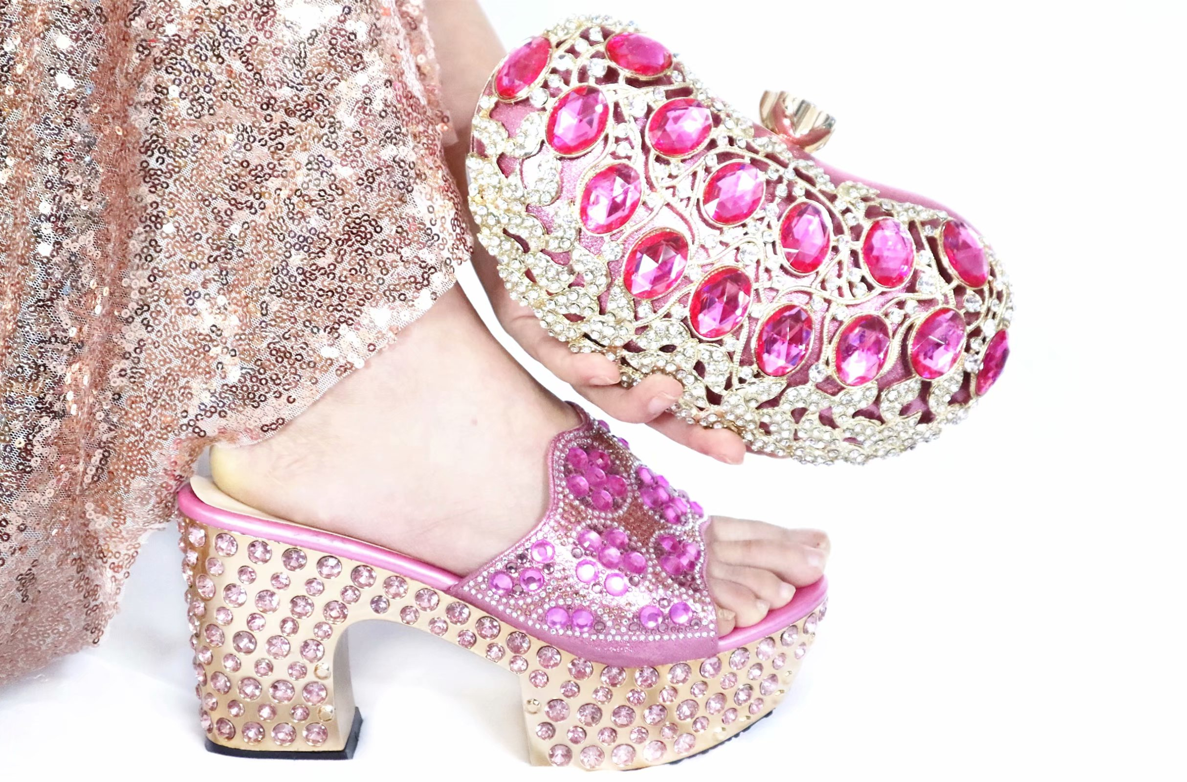 Free Shipping Lovely Pink Shoes Matching Bag For African Aso Ebi Shinning Big Stones Slippers Shoes And Clutches Bag SB8475-4