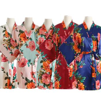 Peignoir dla kobiet Kimono satynowe jedwabne szlafroki nocne suknie bielizna piżamy sukienka wieczorowa szlafroki bielizna nocna zestaw wypoczynkowy tanie i dobre opinie two piece set SILK Drukuj summer Powyżej kolana Mini Połowa RUN00829