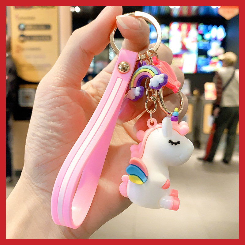 2020 New Cartoon Cute cartoon Kakao character keychain creative rubber keychain Mobile Phone Straps couple bag pendant