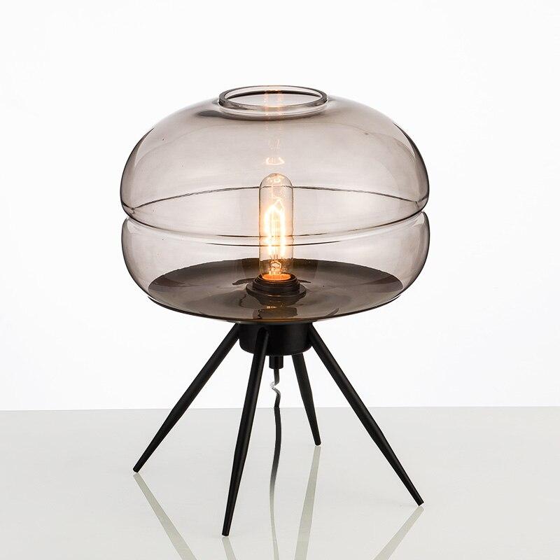 Nordic simple iron Smoke gray blue amber glass lighting LED living room decoration table lamps bedroom bedside desk lights