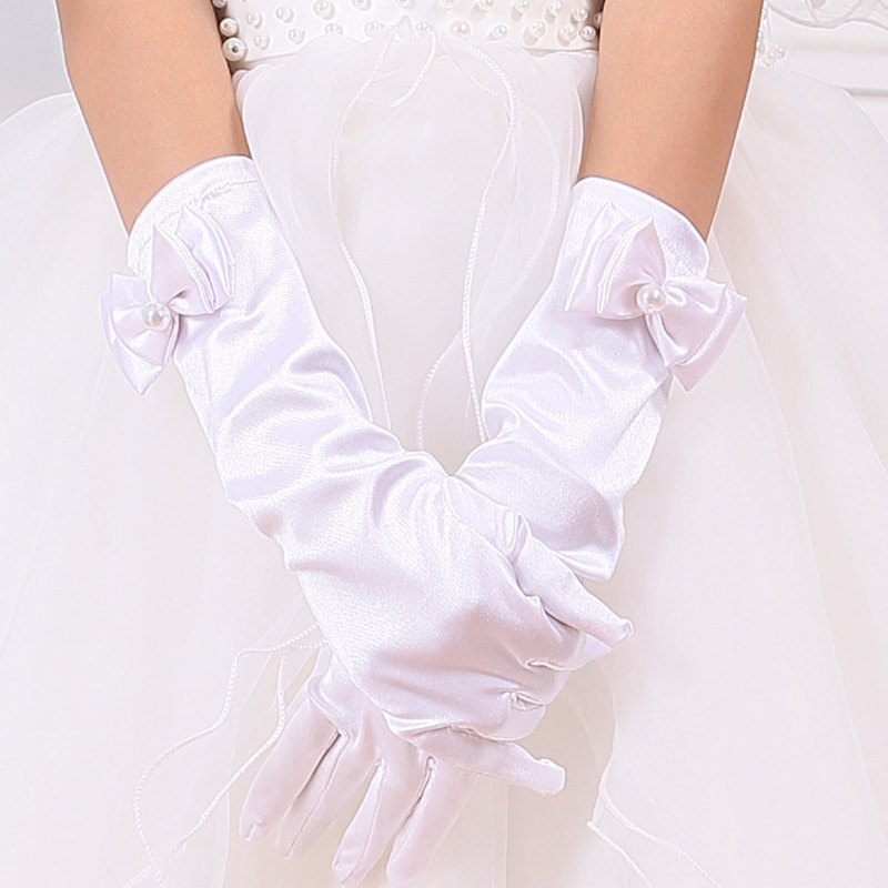 6 Colors Stretch Satin Bow Long Gloves Summer Candy Opera Party Dance Dress Protection Driving Clothing