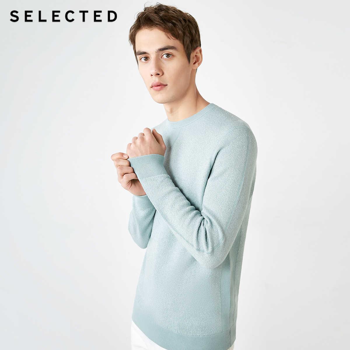 SELEZIONATO degli uomini Del Cotone di Colore Puro Maglione Scollo Rotondo Pullover In Maglia Vestiti S | 419124547