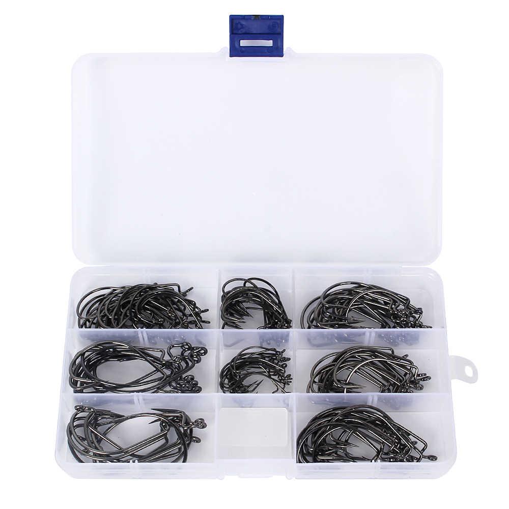 150/50 pcs crochets de pêche ver appâts souples hameçons avec boîte en plastique crochet de pêche nouveau 8 tailles