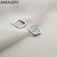 ANENJERY 925 Sterling Silber Geometrische Platz Ohrringe Einfache Ohr Schmuck für Frauen Mädchen Hohl Zubehör S-E1175