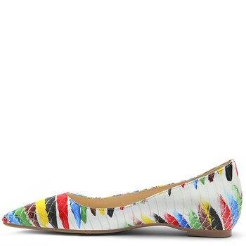 YECHNE Snake Skin Pattern Women's Platform Shoes Pointed Toe Flats Fashion Spring Autumn White Platform Ballet Shoe Plus Size