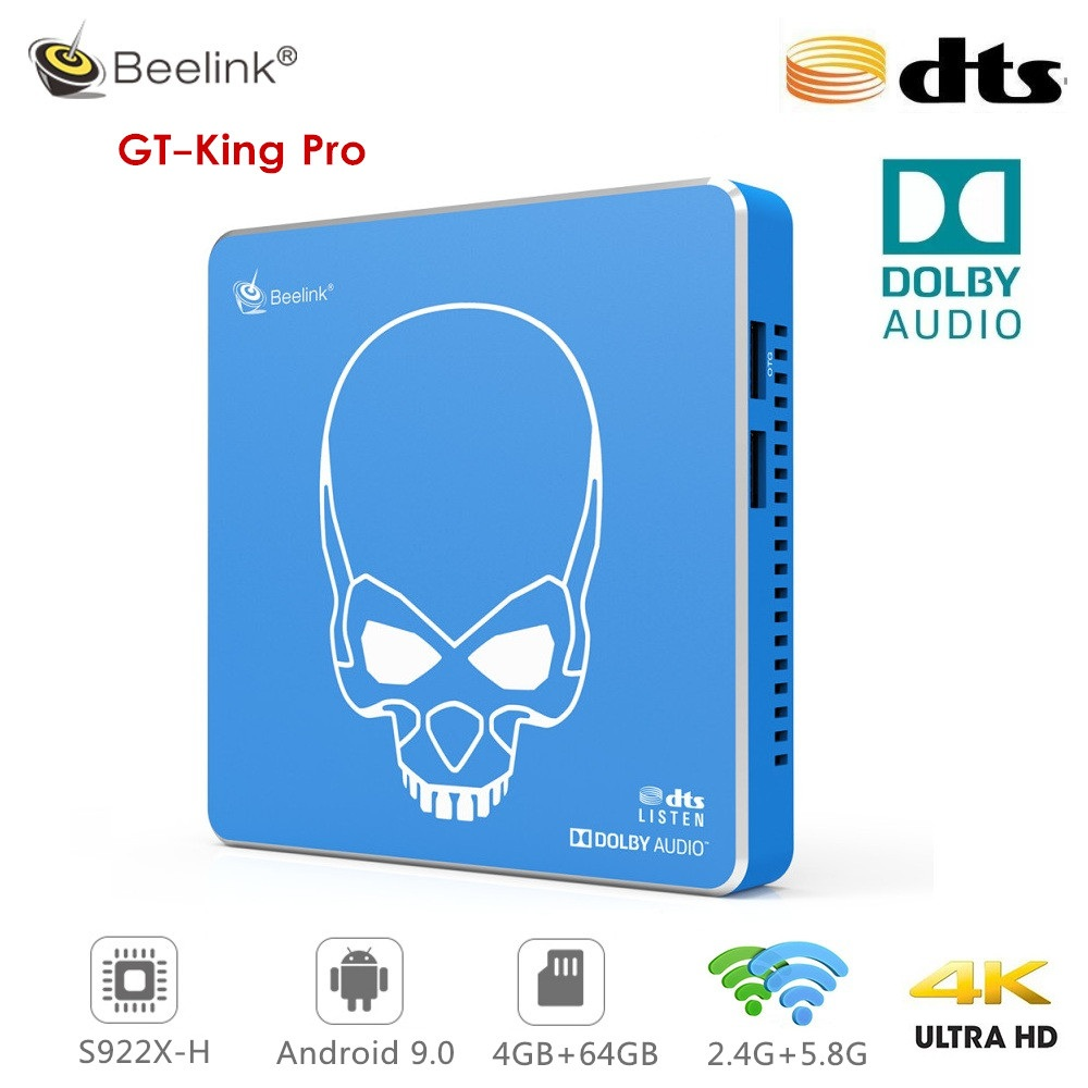 Beelink GT-King Pro Smart TV BOX Hi-Fi Lossless Amlogic S922X-H Hexa Core  Android 9.0 4GB RAM 64 ROM DTS Listen Dolby Audio 4K