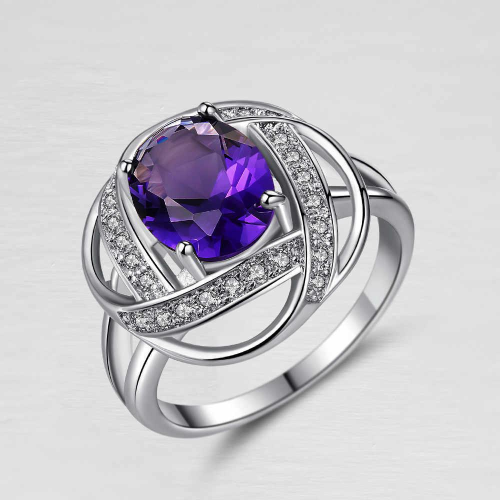 Anillo de circonio colgante de un solo producto anillo de las señoras Mini moda creativa cerrado anillo de Metal colorido decorativo para fiesta joyería de las señoras