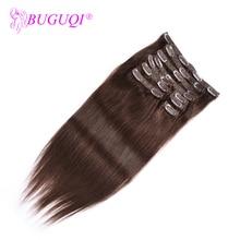 BUGUQI волосы на заколках для наращивания человеческих волос индийские#4 Remy 16-26 дюймов 100 г волосы на заколках для наращивания