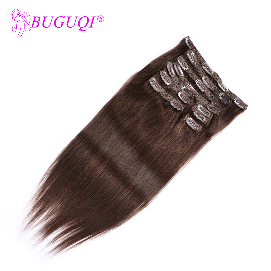 BUGUQI Hair Clip In Human Hair Extensions Indian #4 Remy 16- 26 Inch 100g Machine Made Clip Human Hair Extensions