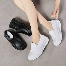 Weideng Microfiber Rubber Bottom Non Slip Solid Color Increase Platform Heels Comfortable Work Grace Nurse Shoes Women Summer(China)