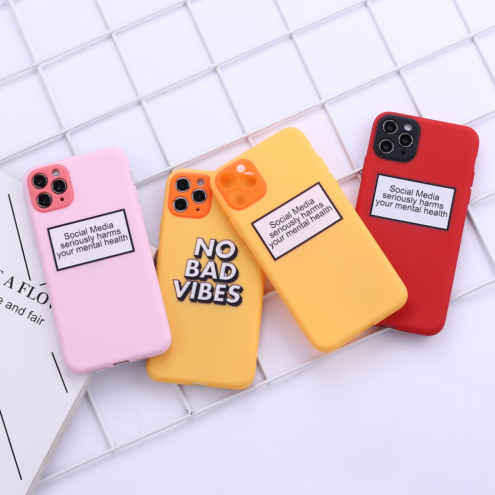 No Bad VIbes Funny Quote Camera Protection Soft Silicone Phone Case Funda For iPhone 11 X XS XR Pro Max 6 7 7Plus 8 8Plus image