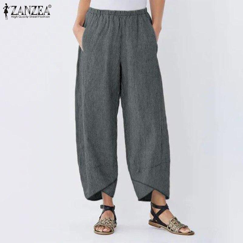 ZANZEA Women Cotton Linen   Wide     Leg     Pants   Ladies Stripe Print Asymmetrical Hem Trousers Elastic Waist Pockets Pantalon Streetwear