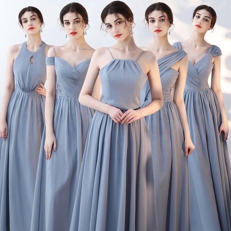 Vestido Boda Mujer Invitada New Chiffon 5 Style Pink Dusty Blue Bridesmaid Dress Long Brautjungfernkleid Cheap Sukienki