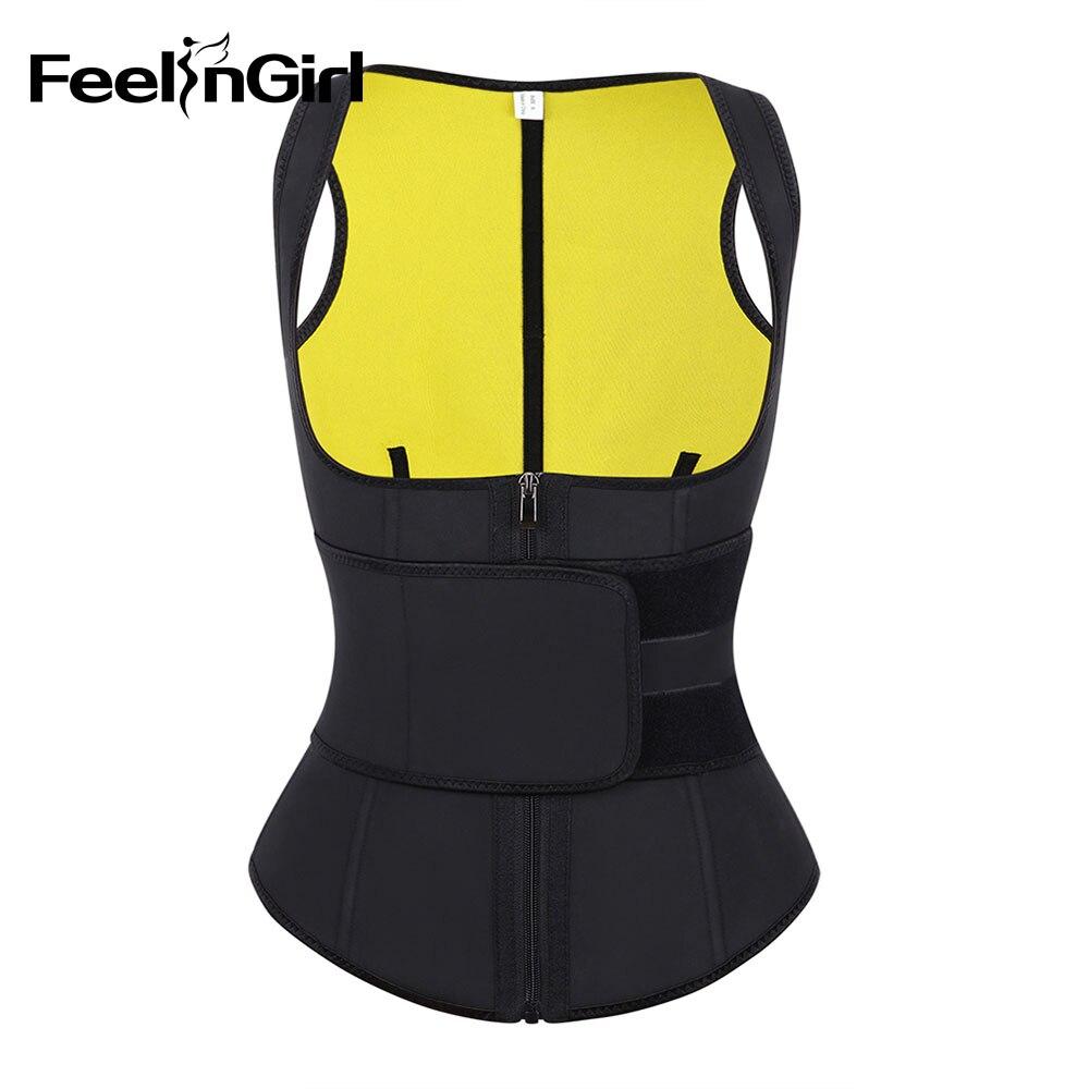 FeelinGirl femmes Latex taille formateur gilet sueur minceur ceinture ventre contrôle Shaper Compression fermeture éclair taille Cincher Corset