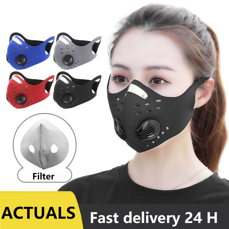Face Anti Dust Pollution Mask Activated Carbon Dustproof Cycling Mask PM2.5 Filters Neoprene Air Pollution Mouth Mask Face Cover