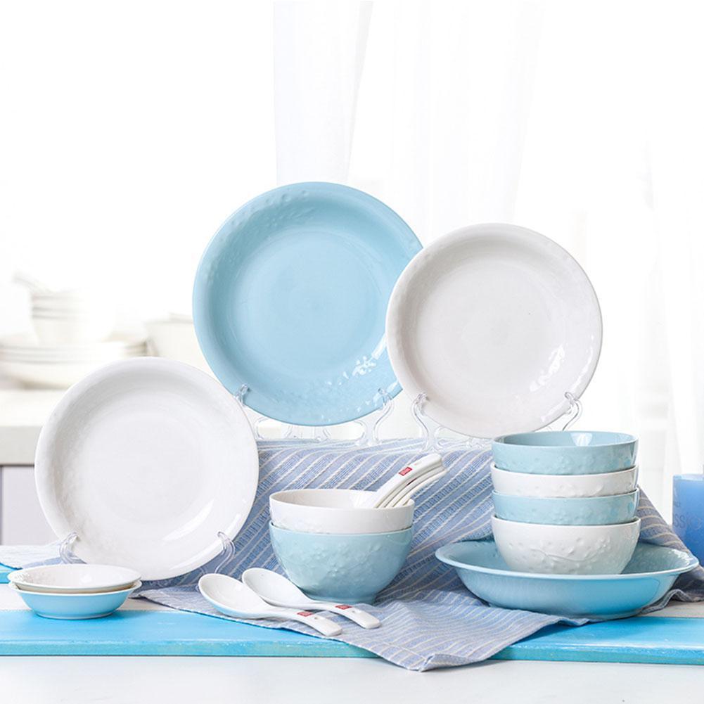Service élégant de cuisine en céramique | 18 pièces service de cuisine, ensemble élégant inclus bols, assiettes Sauce Dishs cuillères à soupe