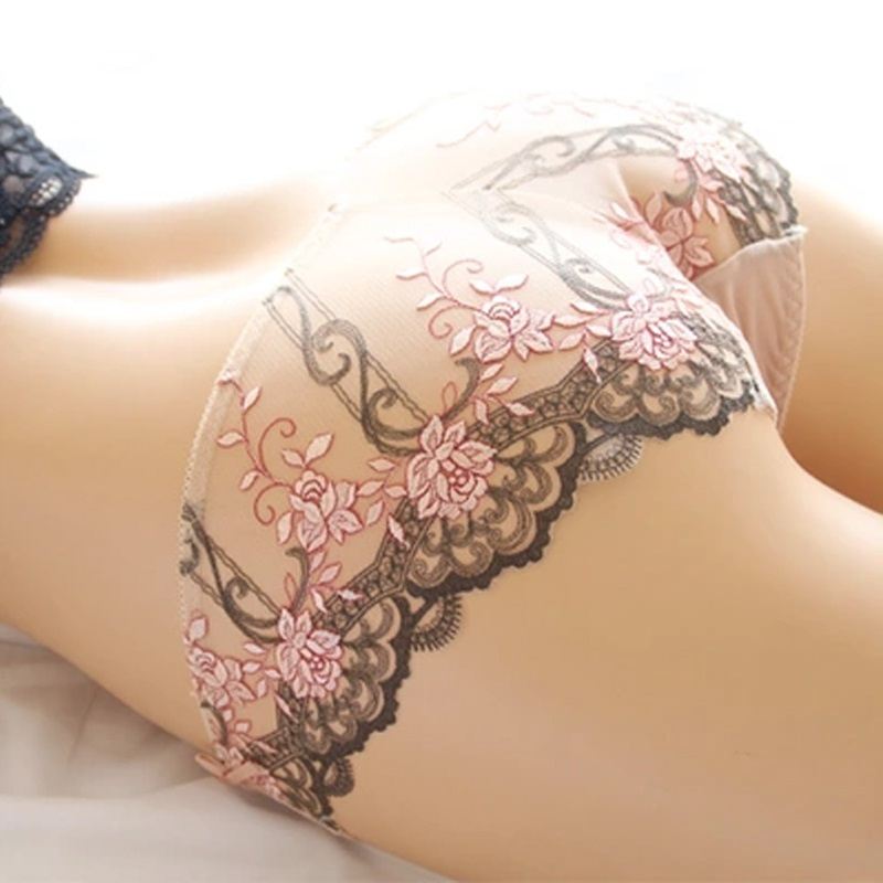 DeRuiLaDy Women Sexy Embroidery Shorts Comfortable Nylon Women Briefs Sexy Low-Rise Briefs Summer Breathable Lace   Panties