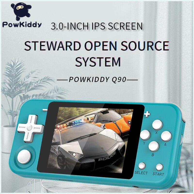 POWKIDDY Q90 ouvert double système de poche rétro Console de jeu 3