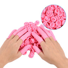 20/50PCS Disposable Gloves Pink Latex Rubber Finger Cots Anti-static Fingertips Protector Gloves for Cleaning(China)
