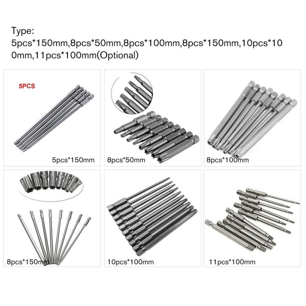5-11PCS Hollow Screwdriver Bit Set 50mm/100mm/150mm Long Alloy Steel Torx Magnetic Screwdriver Bit Driver Tools Kit