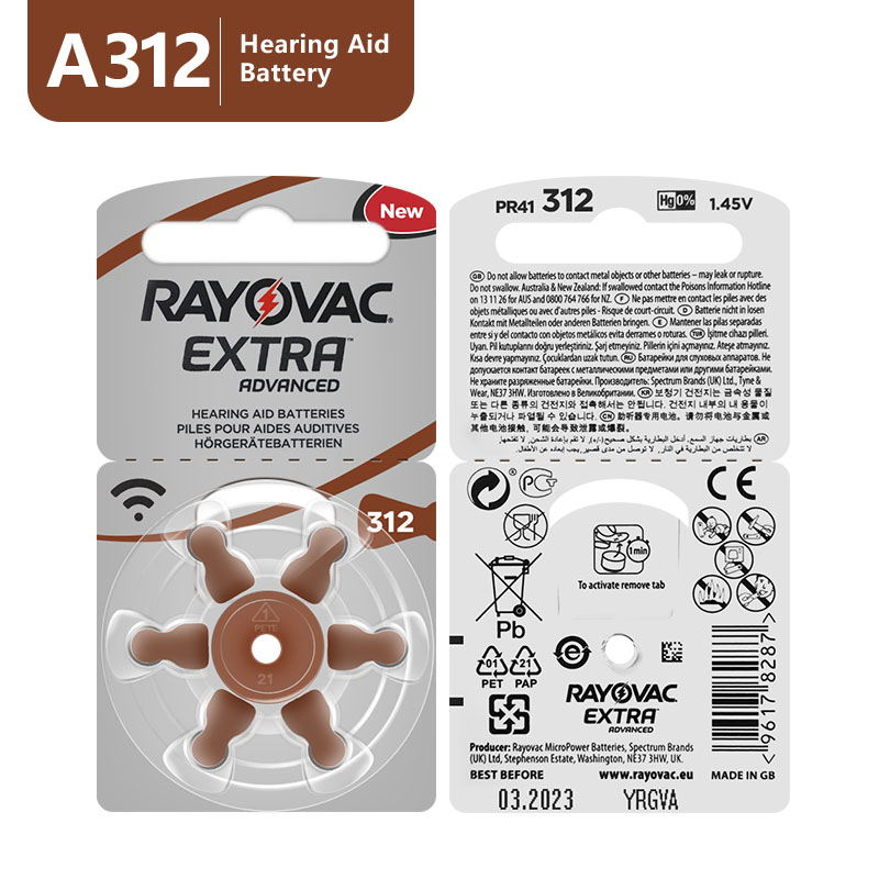 New 60 pcs/10card Rayovac Extra 1.45V Performance Hearing Aid Batteries. Zinc Air 312/A312/PR41 Battery for CIC Hearing aidsrayovac extrahearing aid batteriesbattery for hearing aids -