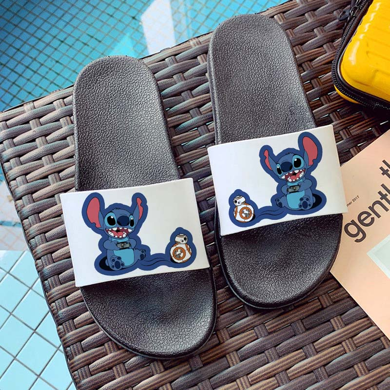 Cute Cartoon Home Slippers Women Lilo And Stitch Beach Sandals Summer Slippers House Flip Flop Indoor Slippers Chanclas Mujer