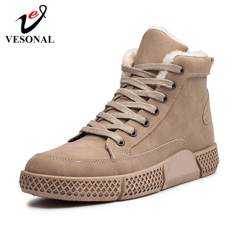VESONAL מותג מזדמן גבר נעלי מגפי שלג חם 2019 חורף חדש אופנה באיכות בציר גברים נעליים הנעלה חדש הגעה